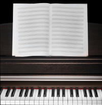 vintage piano with empty paper