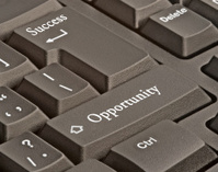 Keyboard with hot key for success and opportunity