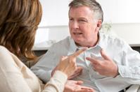Marriage breakdown concept. Mature couple arguing