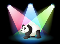 stage with a giant panda