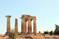Close view - Temple of Apollo in Corinth at Greece
