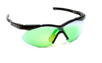 Plastic sunglasses with green glass