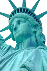 Extreme close statue of liberty
