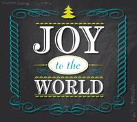 Joy to the World word design on chalkboard background