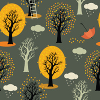 Autumn trees with yellow leaves, clouds and rain. Gray backgroun