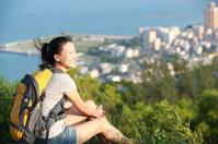 young woman enjoy beautiful sea bay landscape