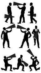 Businessmen shouting into megaphone