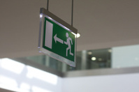 Escape sign exit door