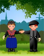 Dutch folkloric people in landscape- Staphorst