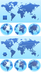 World Map globe dotted