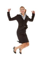 Midair Jumping Business Woman