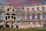 Roman Amphitheater, view of the Arena (colosseum)  in Pula, Croa