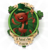 Saint Patrick cat with a cane label