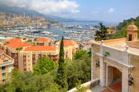 Ancient fortification and view of Monte Carlo.
