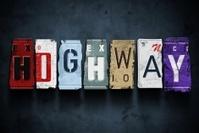 Highway word on vintage car license plates, concept sign