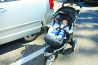 Lonely Baby Parking Stroller