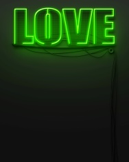 Neon glowing sign with word Love, copyspace