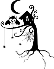 Halloween Wizard Owl Invite IN Silhouette Stock Vector FreeImagescom