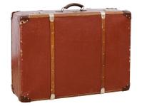 Vintage suitcase isolated on white