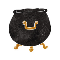 retro cartoon cauldron
