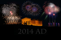 Greek temple with fireworks 2014 AD