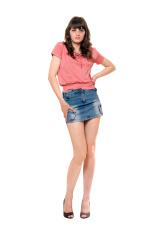 Cute girl in jeans mini skirt