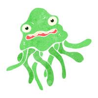 retro cartoon jellyfish