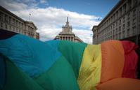 Rainbow flag during Sofia, Bulgaria Gay Pride March
