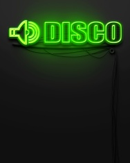 Neon glowing sign with word Disco, copyspace