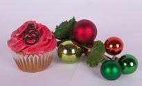 Christmas tree ornament and cupcake