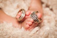 Wedding Rings on Newborn Baby's Toes