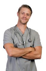 Man in Grey Scrubs Arms Crossed Vertical