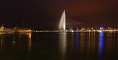 Switzerland, Geneva, night view of Lake and city