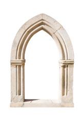Original gothic door isolated on white background