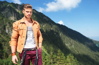 casual man in the mountains