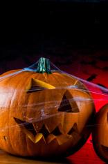 Halloween pumpkin in atmospheric light
