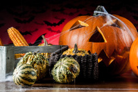 Scary halloween theme with pumpkin
