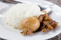 Rice with egg and pork in sweet brown sauce