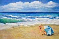 Little Girl Looks at Beach Waves
