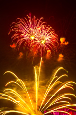 Fantastic colorful fireworks with black copyspace, perfect for t