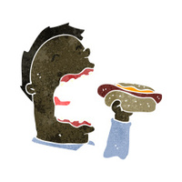 retro cartoon man eating hotdog