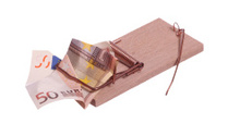 european bank note in mouse trap