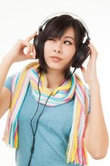 asian woman and headphone