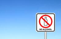 no alcohol sign with blue sky