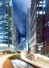 Hong Kong bussines center at night