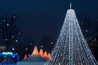 Christmas tree made with fairy lights
