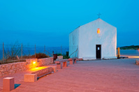 white chapel at dusk