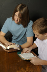 Two Boys Studying Bible