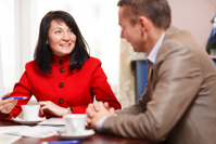 Businesswoman in a meeting with colleague