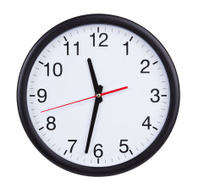 Half past eleven on a clock face